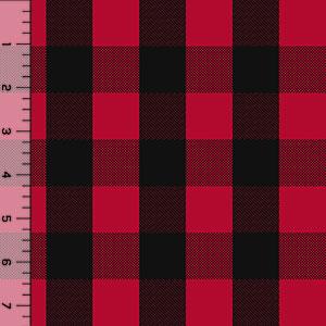 Black Red Buffalo Plaid Cotton Spandex Knit Fabric