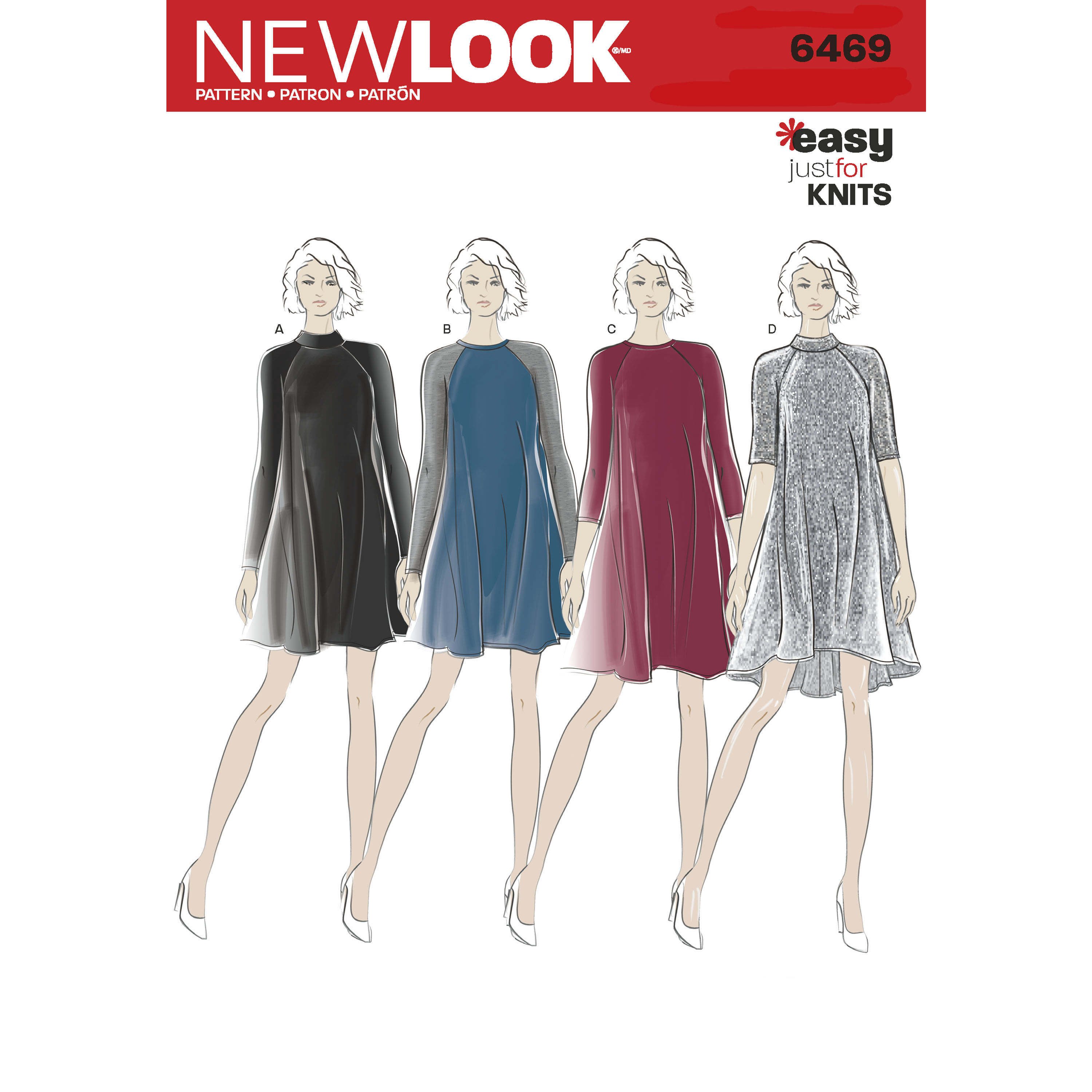 New Look Pattern 6469 Misses\' Easy Knit Dress with Length and Sleeve ...