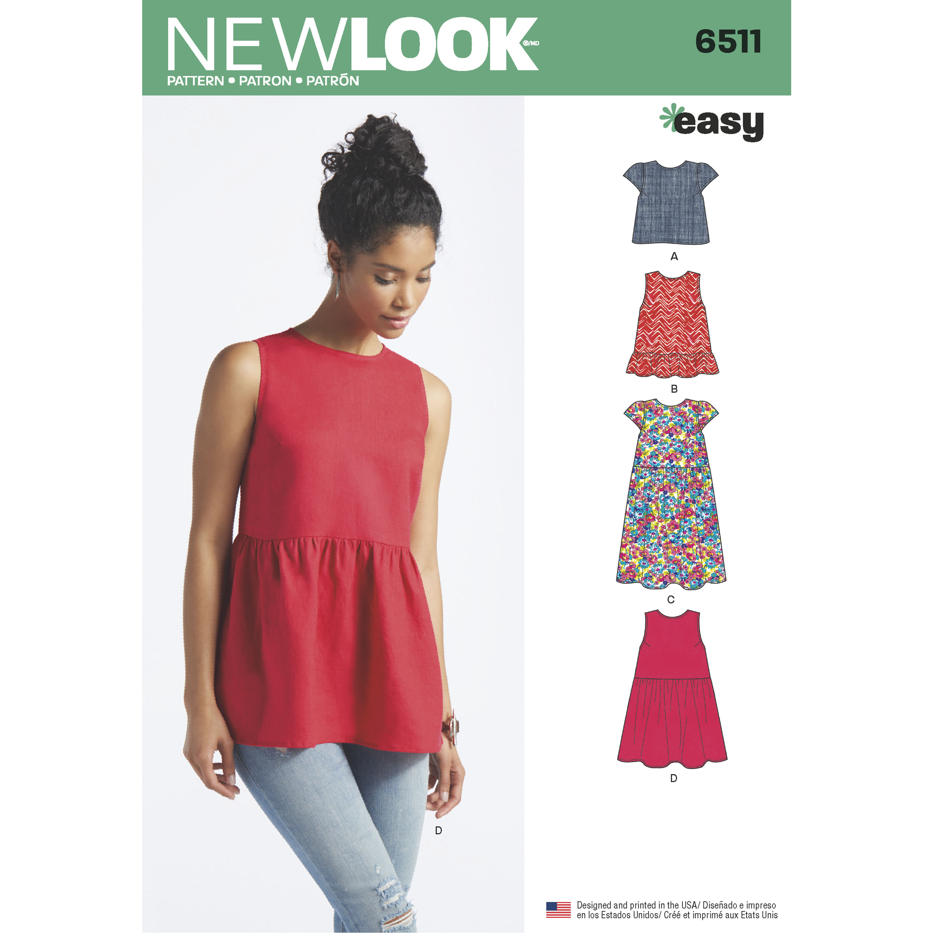 New Look Pattern 6511 Women\'s Tops With Length and Sleeve Variations ...